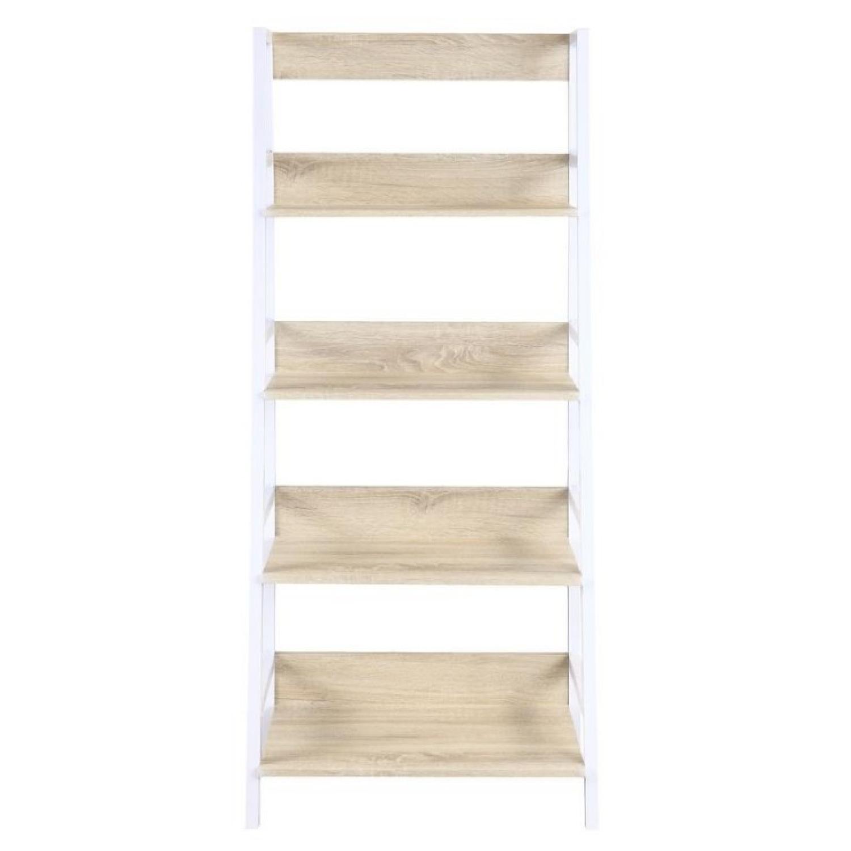 Ladder Bookcase w/ Natural Shelves & White Frame