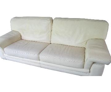 Roche Bobois Cream Leather Sofa