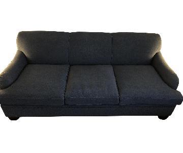 Carlyle Sleeper Sofa Custom Upholstered in Navy Linen