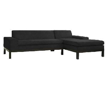 West Elm Lorimer Microsuede Sectional Sofa in Slate