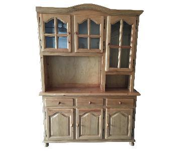 Brown Wooden Cabinet w/ Hutch