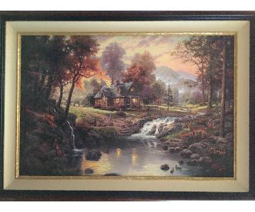 Thomas Kinkade Mountain Retreat Canvas Painting