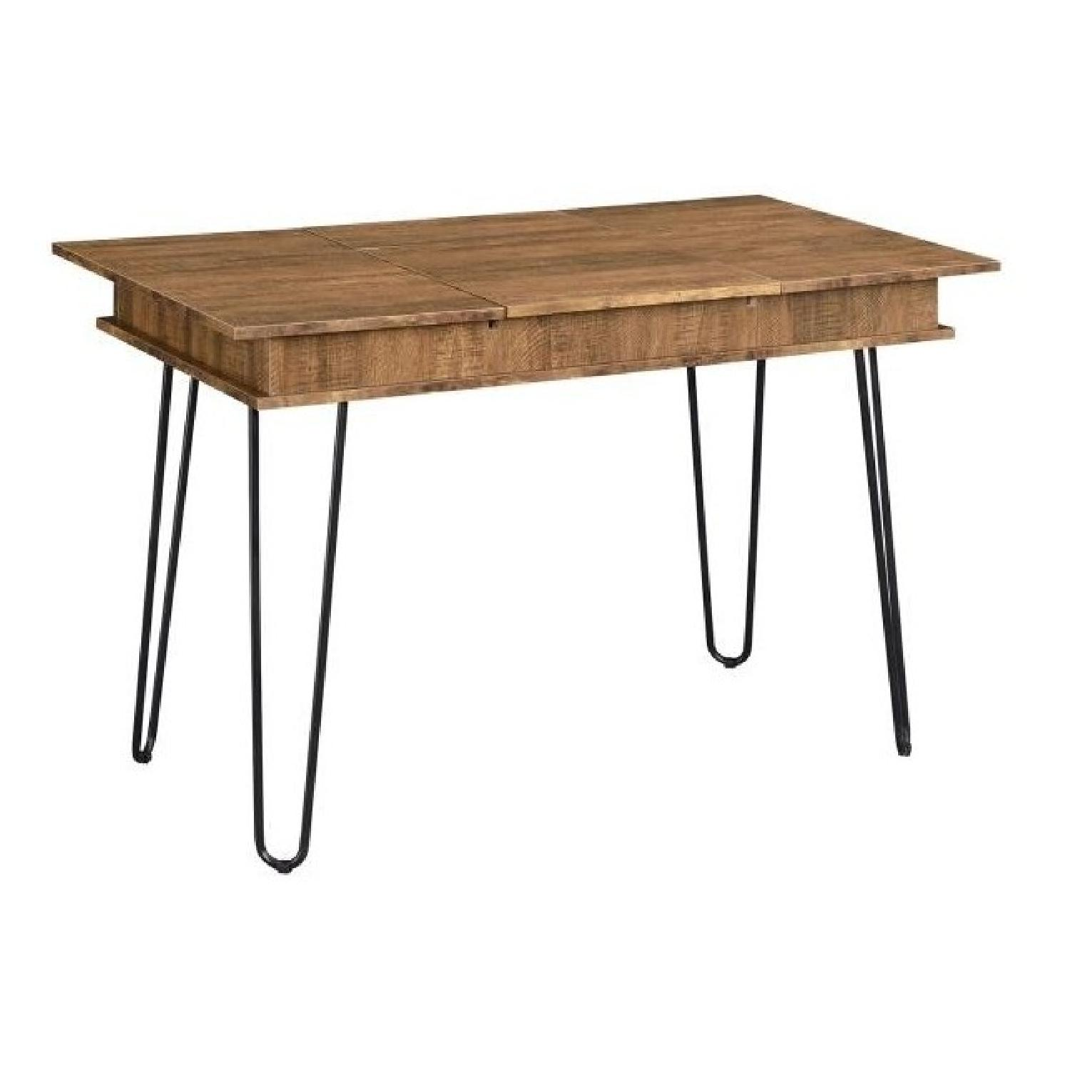 Writing Desk in Rustic Amber Finish w/ Hairpin Legs