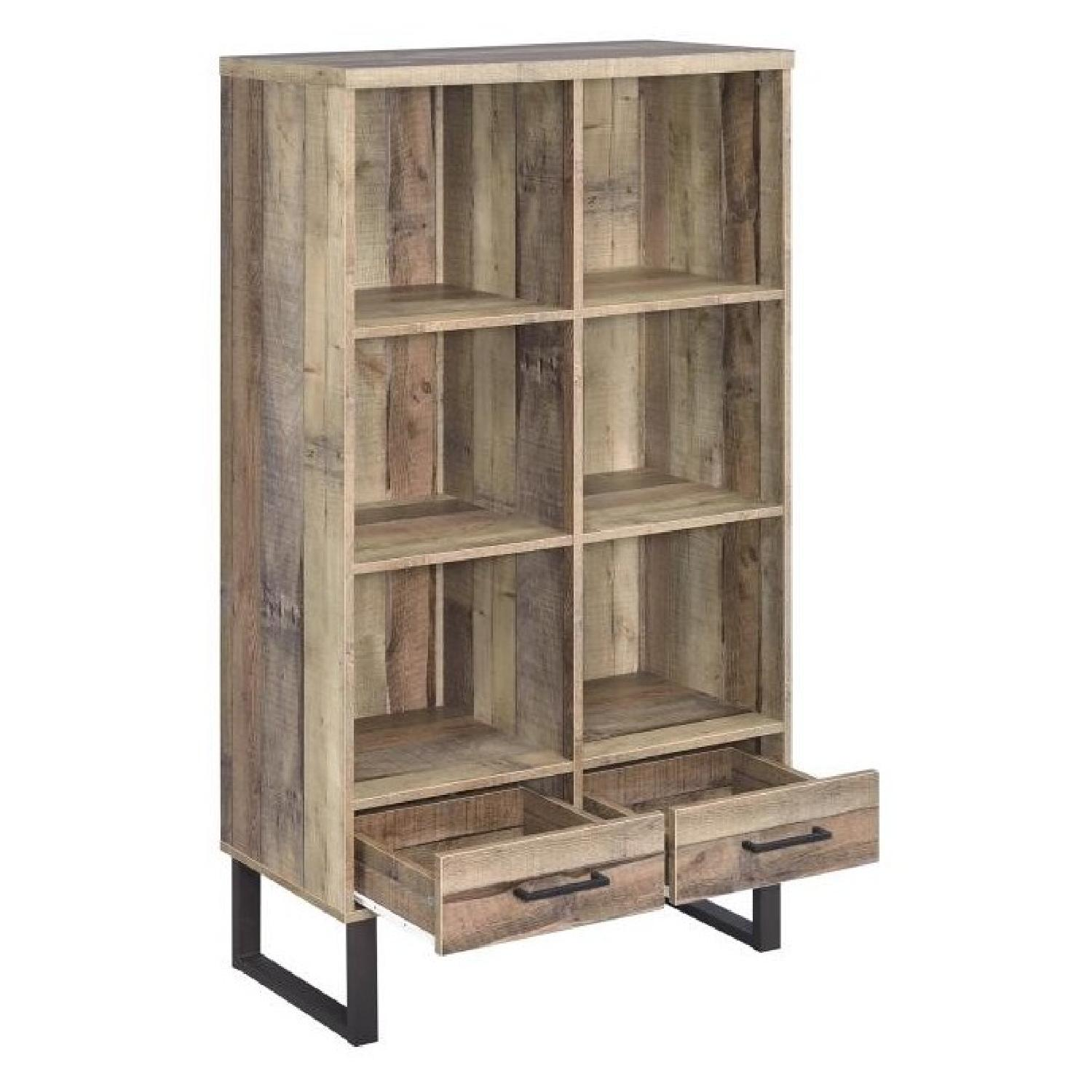 Bookcase in Weathered Pine w/ 6 Shelves & 2 Drawers