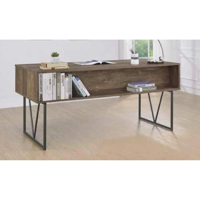 Modern Writing Desk in Rustic Oak Finish - image-1
