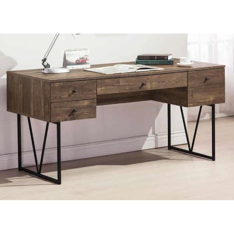 Modern Writing Desk in Rustic Oak Finish - image-2