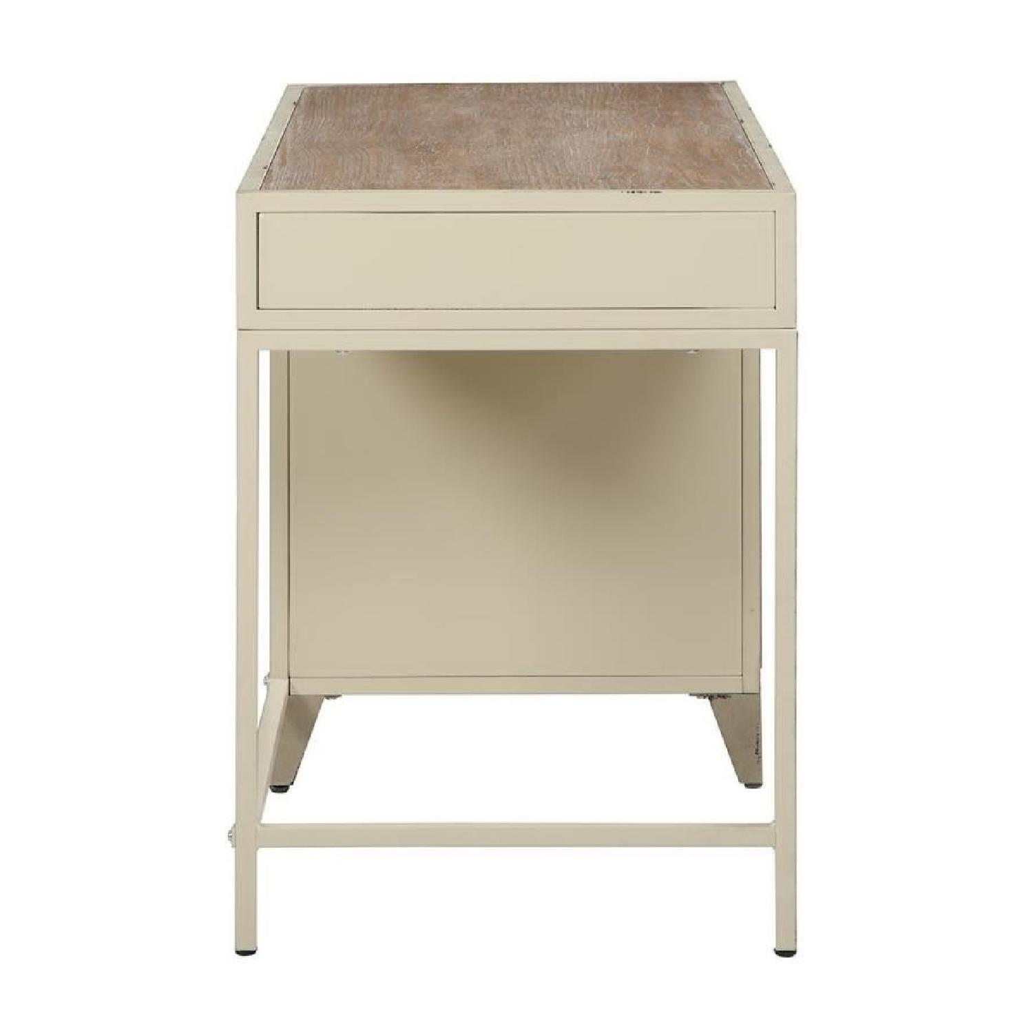 Industrial Style Writing Desk in Antique Eggshell Finish