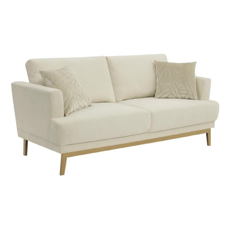 Sofa in Beige Fabric w/ Flair Arms & Brass Legs