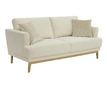 Sofa in Beige Fabric w/ Flair Arms & Brass Legs