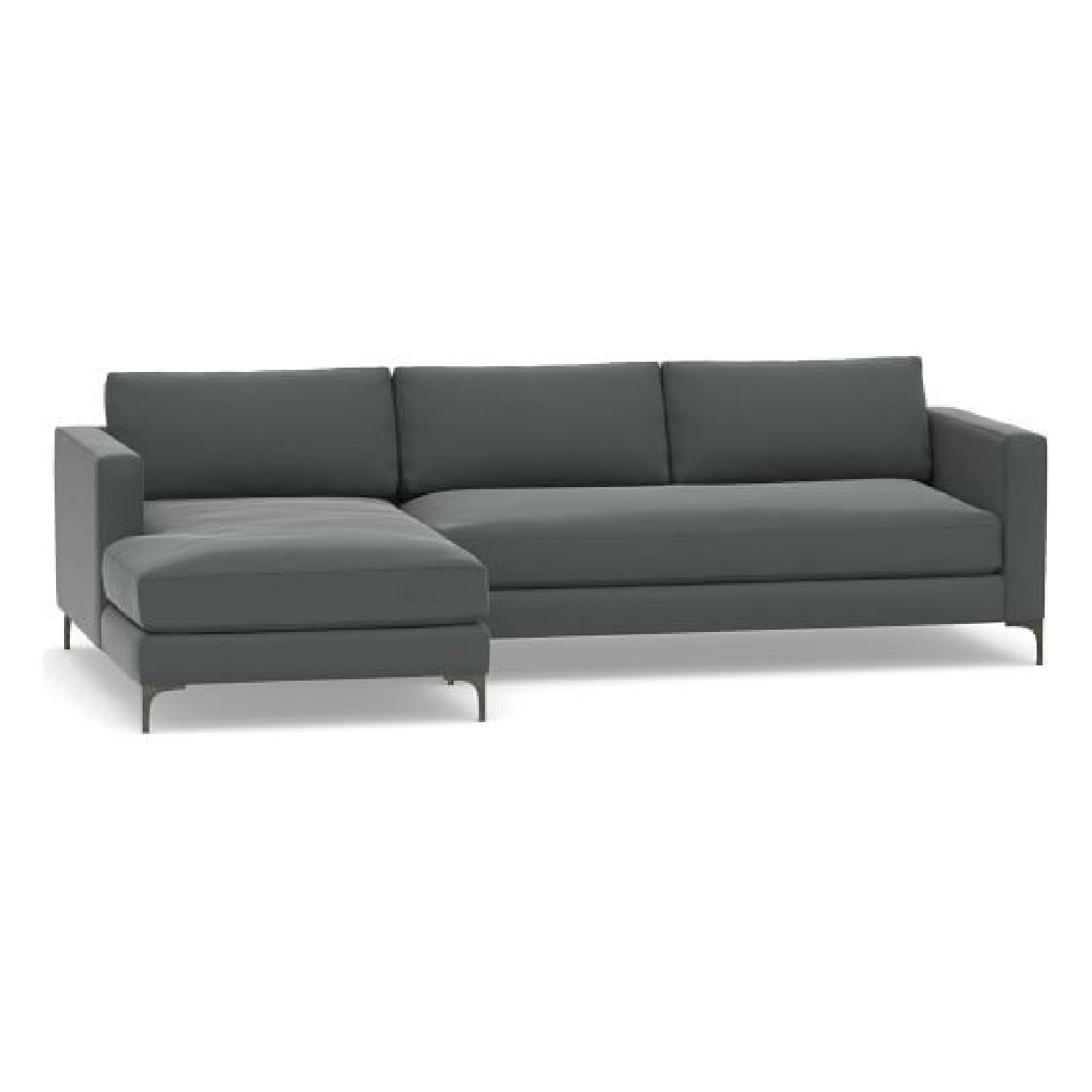 Pottery Barn Jake Upholstered Right Chaise Sectional Sofa ...