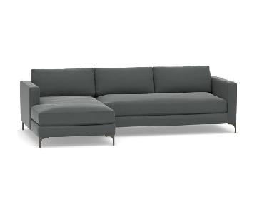 Pottery Barn Jake Upholstered Right Chaise Sectional Sofa