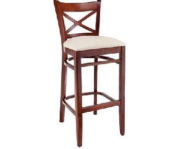 Copper Grove Barna Mahogany Wood Microfiber Seat Bar Stools