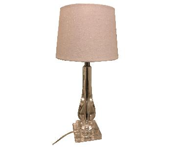 Acrylic Table Lamp w/ White Sparkly Lamp Shade