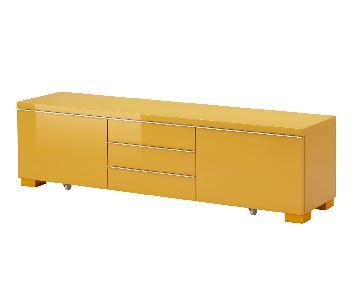 Ikea Besta Burs High Gloss Yellow Storage Unit