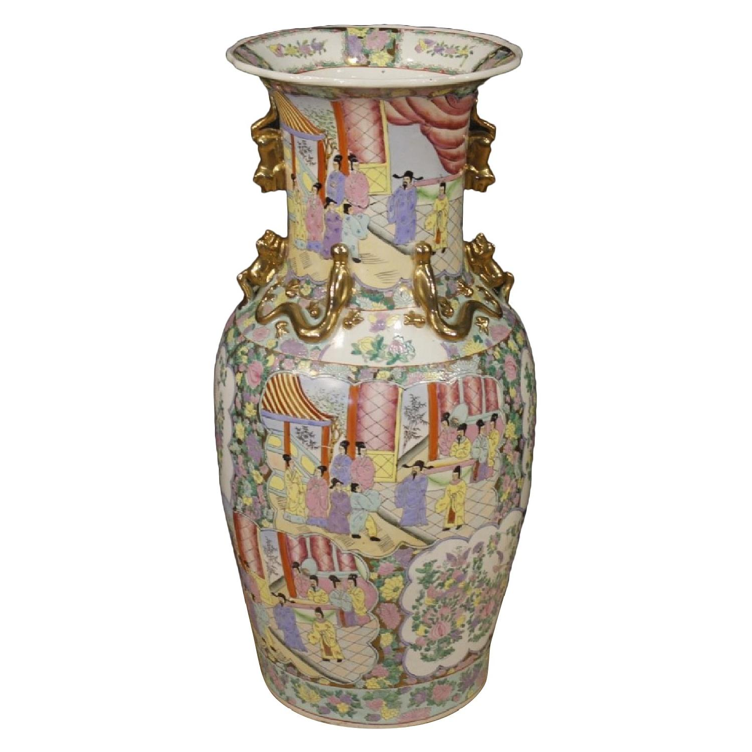 20th Century Chinese Vases in Painted Gilt Ceramic