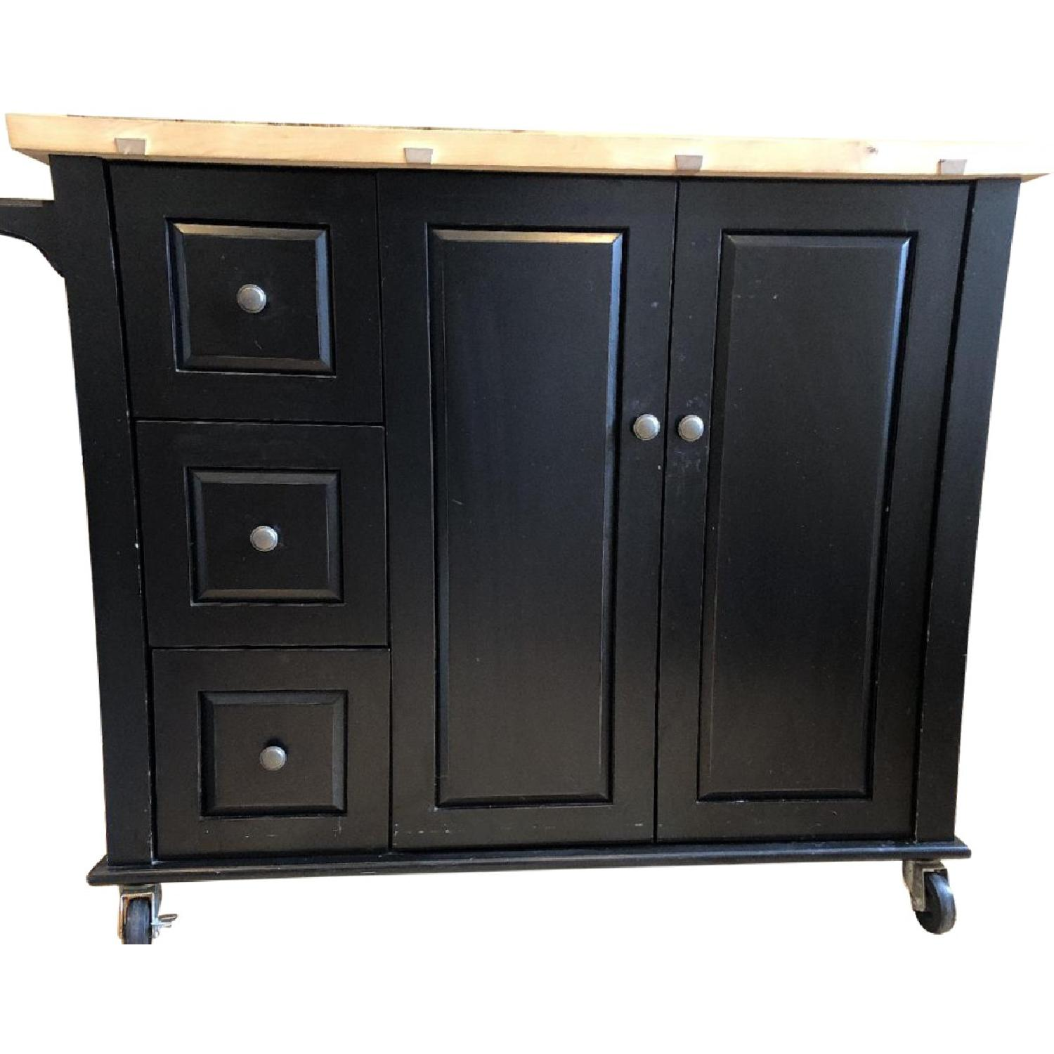 Crate U0026 Barrel Kitchen Island W/ Butcher Block Top ...