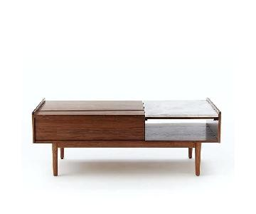 West Elm Mid-Century Wood & Marble Pop Up Coffee Table