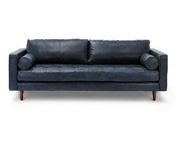 Article Sven Blue Leather Sofa
