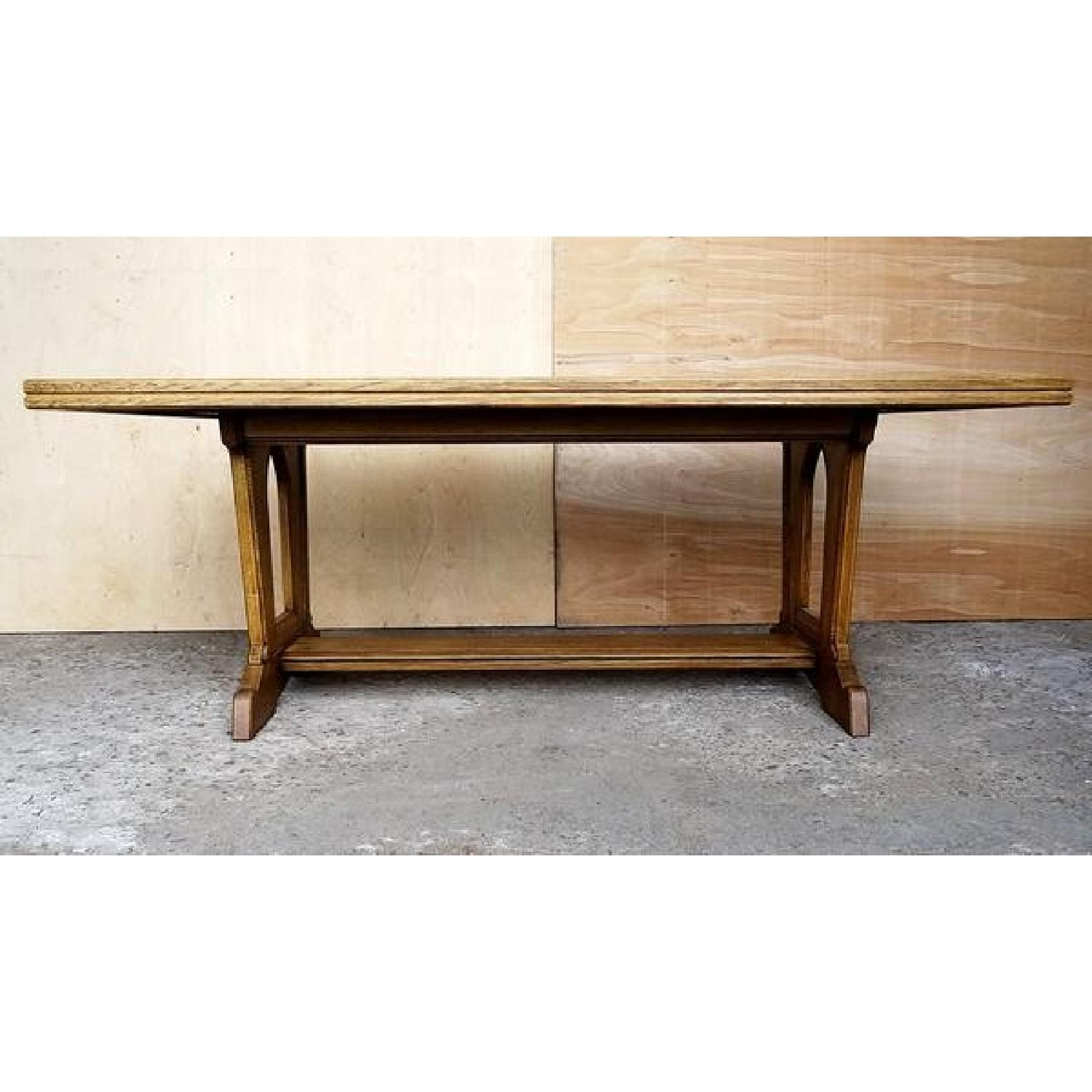 Solid Antique French Oak Trestle Dining Table
