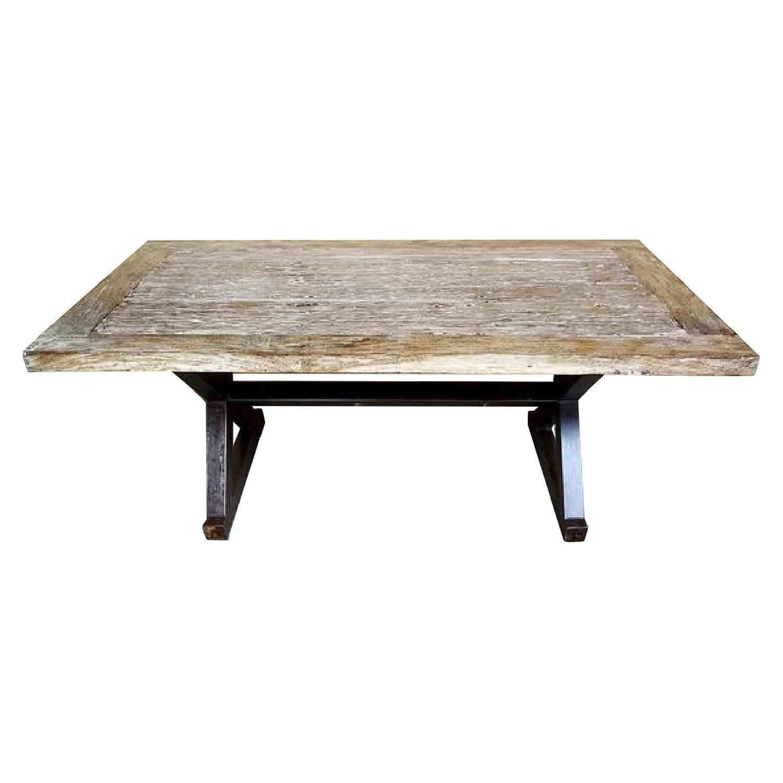 Vintage Reclaimed Rustic Teak Whitewashed Dining Table