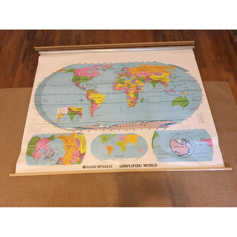 Vintage Rand McNally Classroom Pull-Down World Map - AptDeco