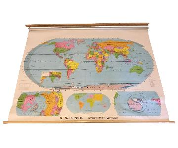 Vintage Rand McNally Classroom Pull-Down World Map