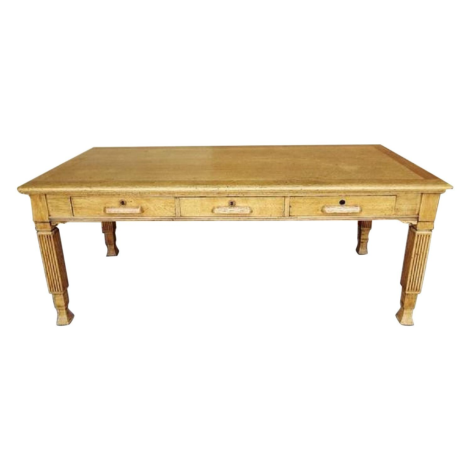 Vintage French Neoclassic Country Antique Oak Dining table