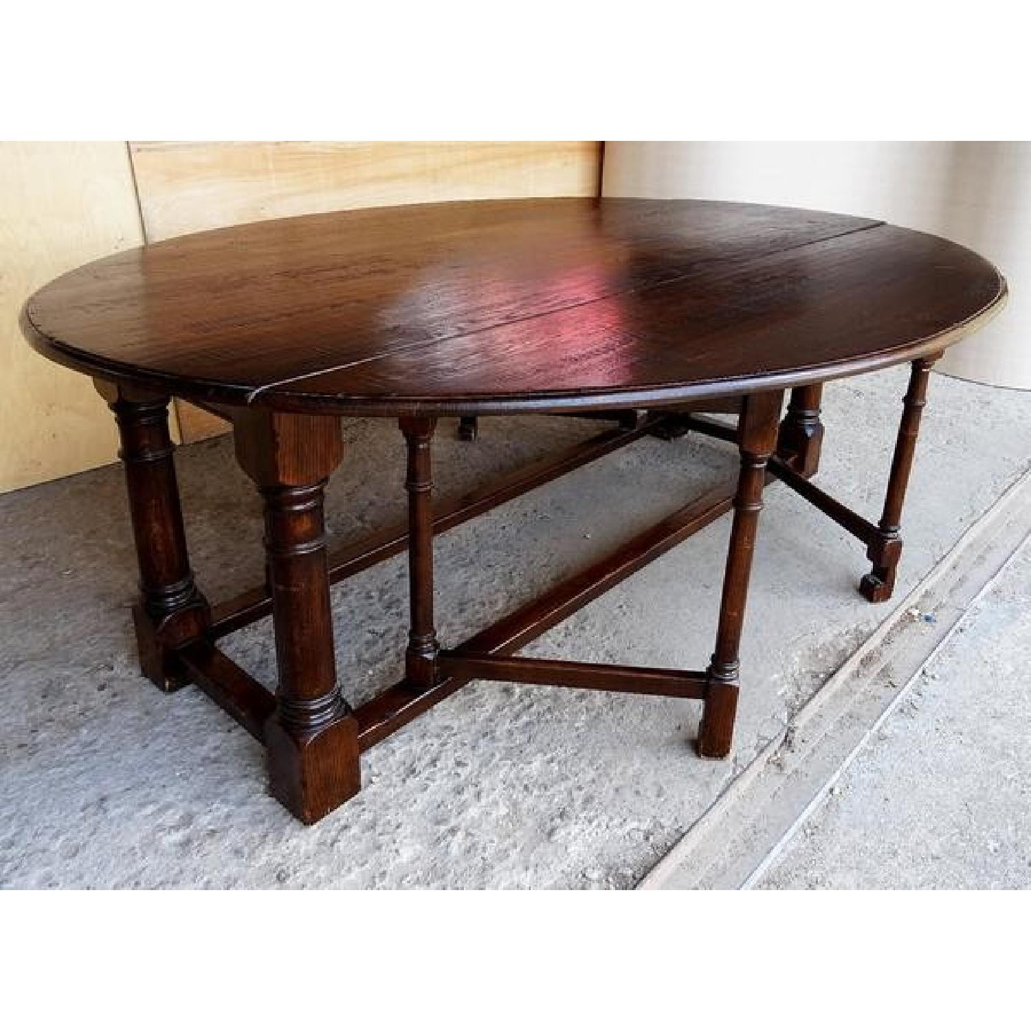 Antique Oval Gate Leg French Oak Dining Table