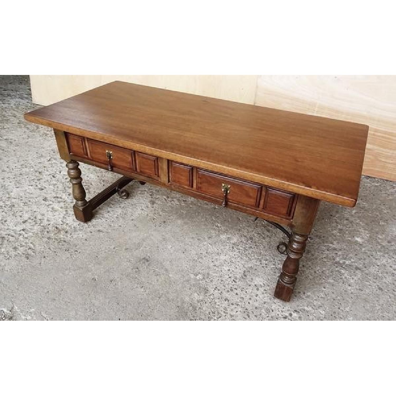 Vintage Spanish Style Oak Coffee Table - AptDeco