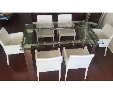 Expandable Glass Top Dining Table