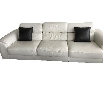 Lazzoni White Leather Sofa