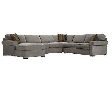 Raymour & Flanigan Grey 3 Piece Sectional Sofa