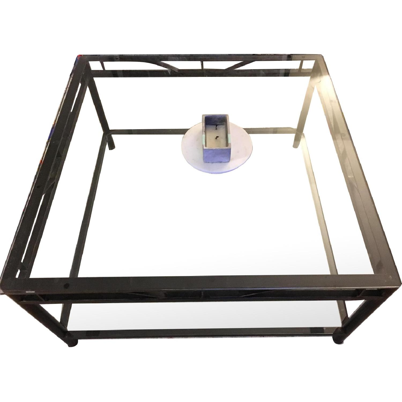 2 Tier Iron Frame U0026 Glass Coffee Table ...