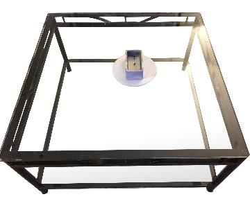 2-Tier Iron Frame & Glass Coffee Table