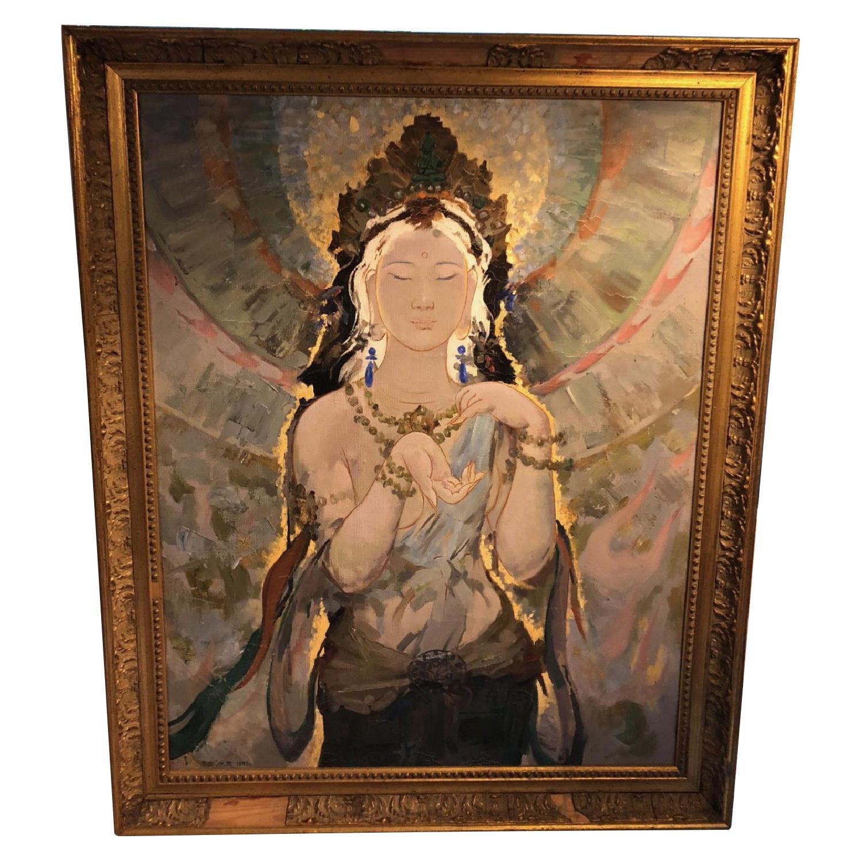 Southeast Asian Oil Painting of Shiva in Gilt Frame