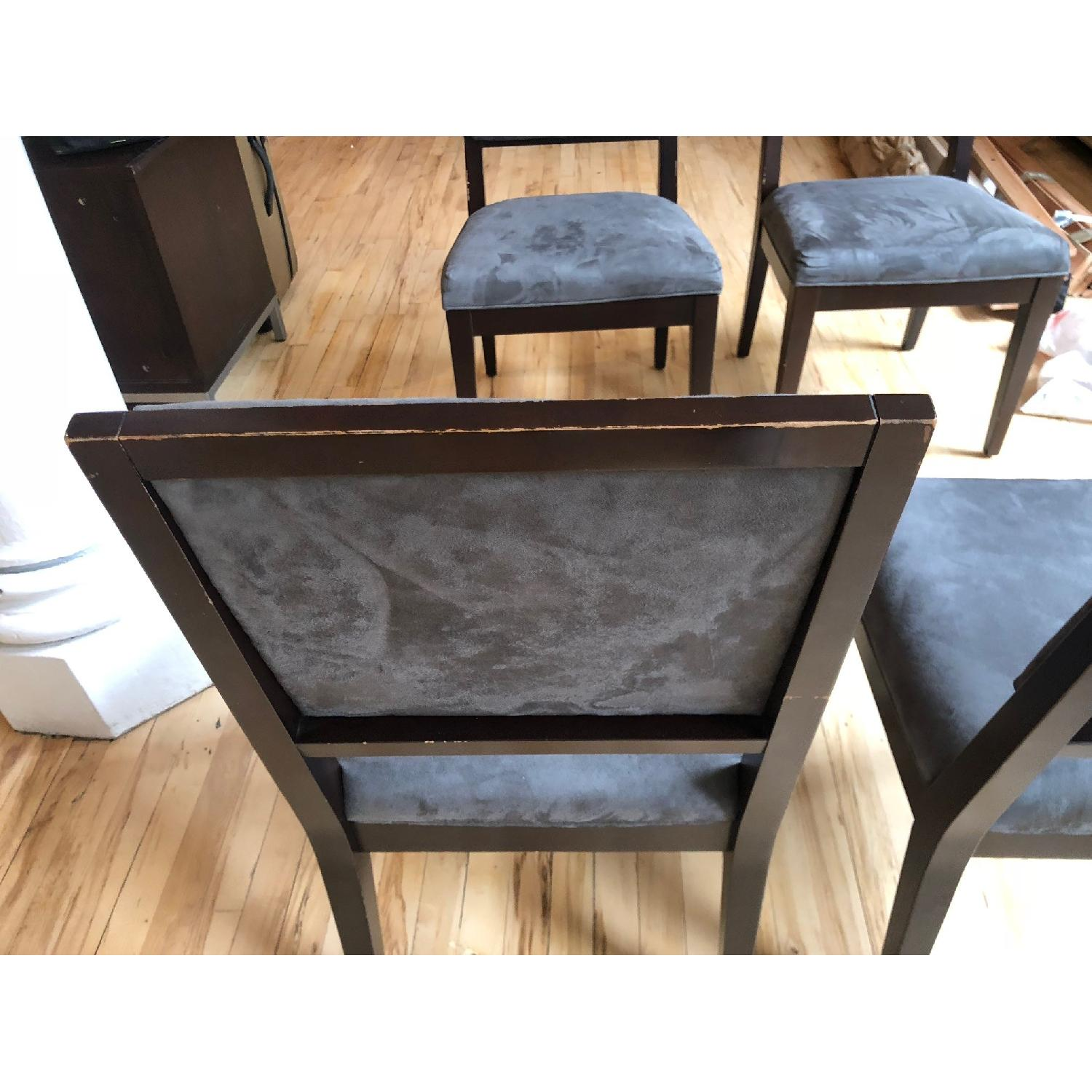 ... Crate U0026 Barrel Grey Wood Dining Chairs 4 ...