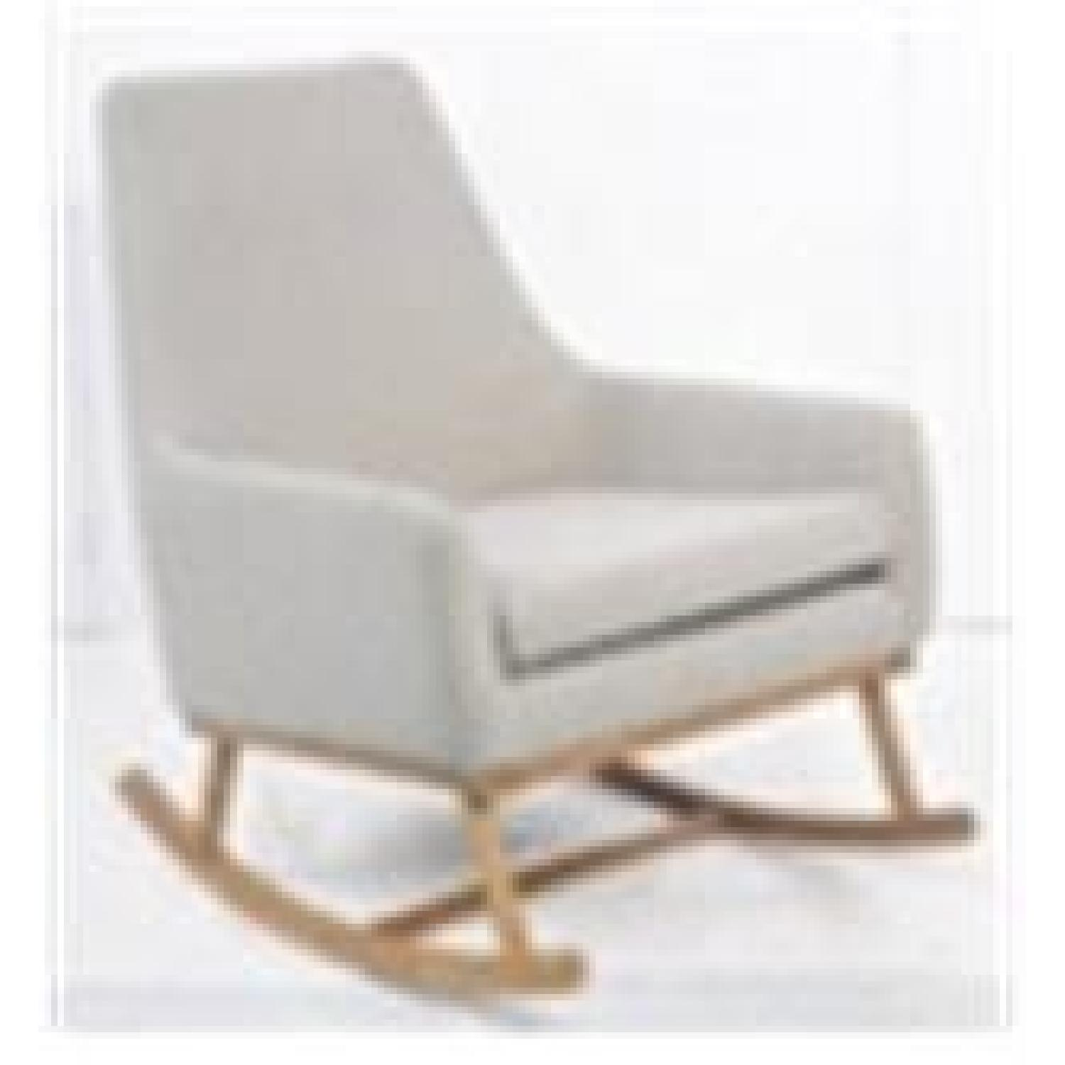 Rocking Chair in Upholstered in Grey Fabric