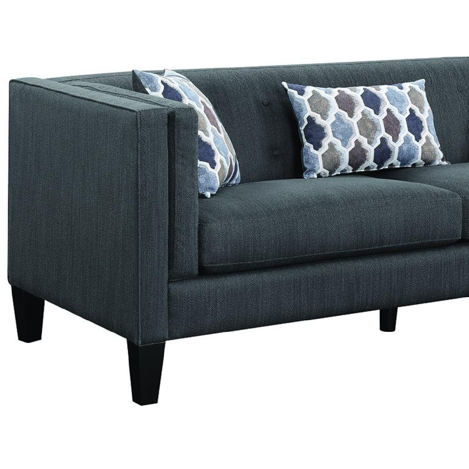 Modern Sectional w/ Reversible Chaise in Dusty Blue Fabric