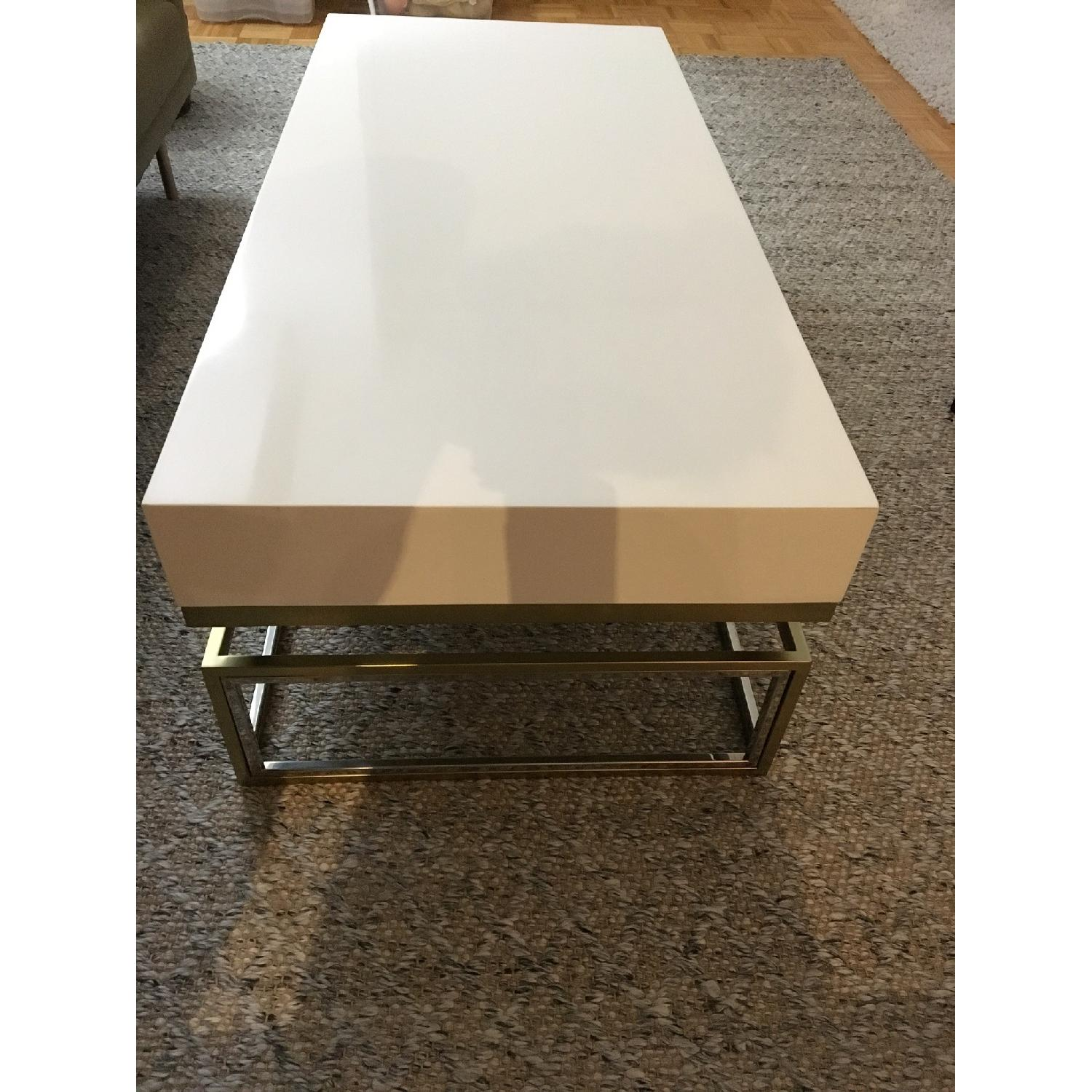 ... Anthropologie White Lacquer Coffee Table 5
