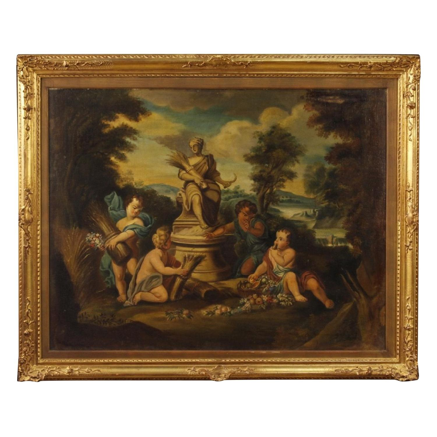Italian Painting Oil On Canvas Game Of Little Angels