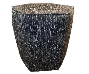 Room & Board Fabric Pouf/Ottoman in Black/White