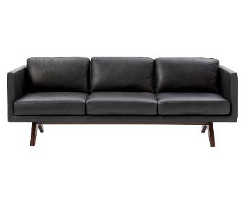 West Elm Brooklyn Licorice 3-Seater Leather Sofa
