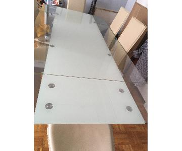 Expandable Dining Table w/ Clear Glass Top & Chrome Legs