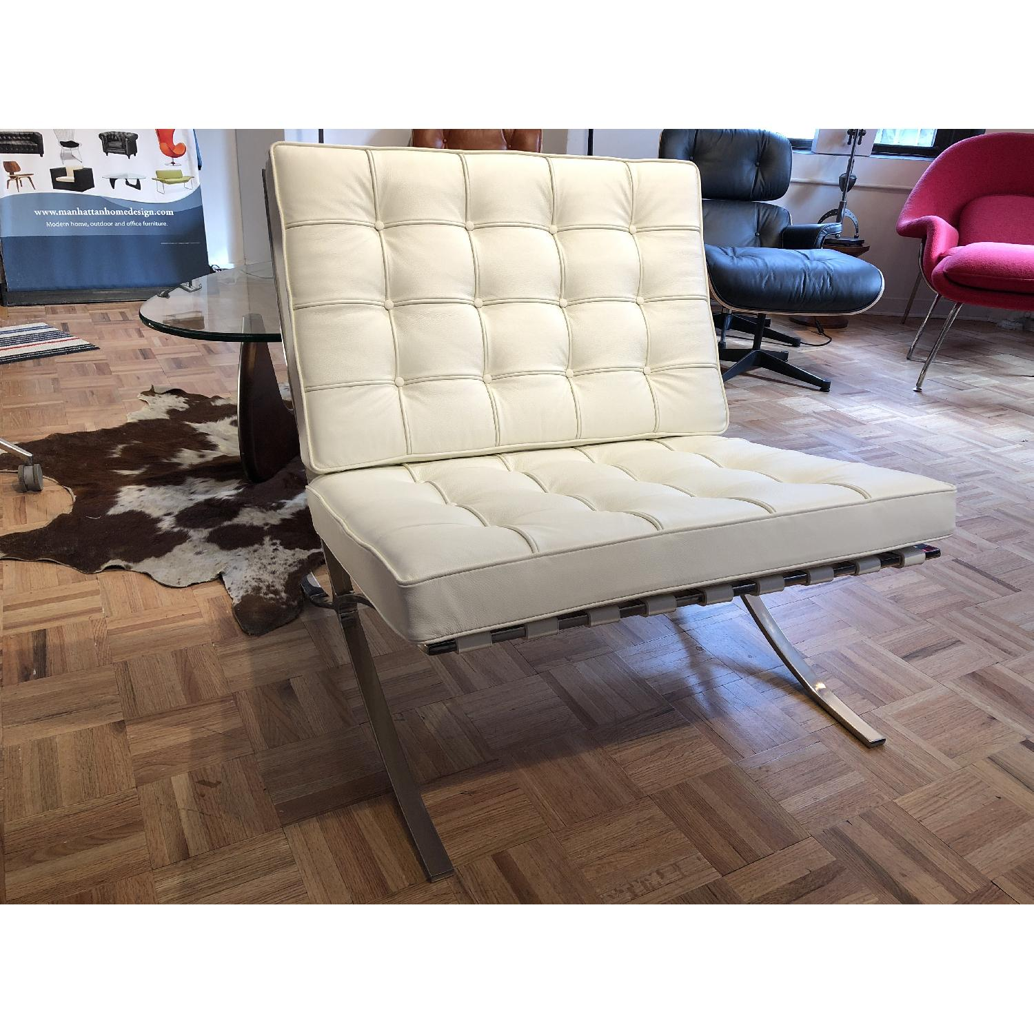 White Italian Leather Barcelona Chair Replica Aptdeco