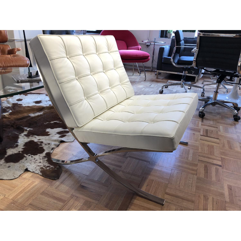 White Italian Leather Barcelona Chair Replica