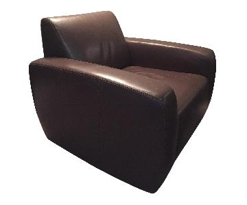 W Schillig European Brown Leather Swivel Chair