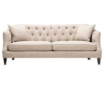 Raymour & Flanigan McCall Beige Tufted Sofa