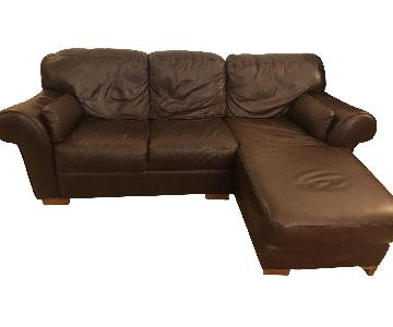 Dark Brown Faux Leather 2-Piece Sectional Sofa