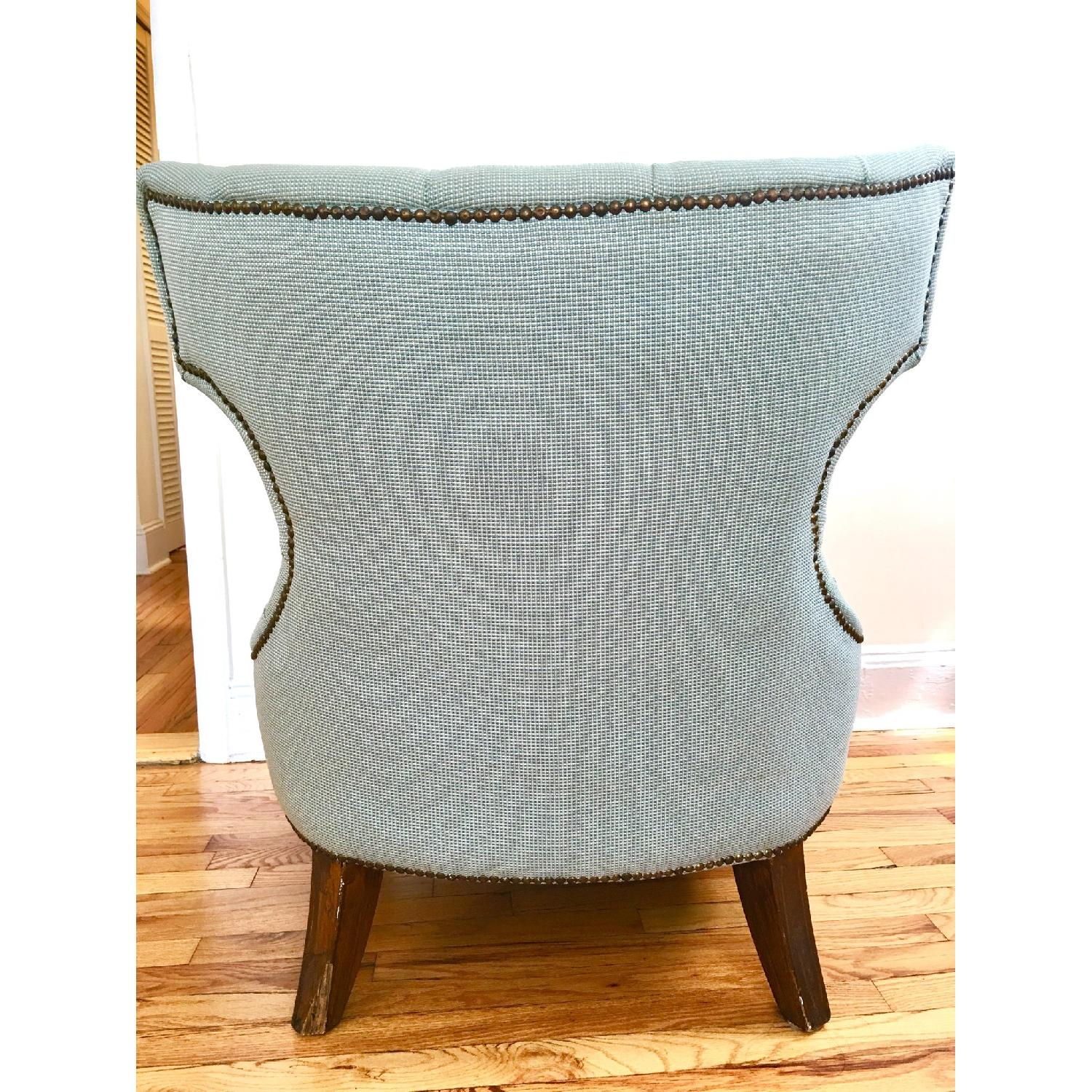 Custom Accents Sea Foam Tufted Wingback Accent Chair