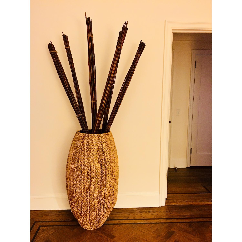 Becara Spain Wicker Basket w/ Bamboo Sticks - AptDeco